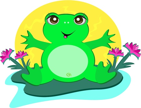 Frog with Peace Lotus Flowers Vector
