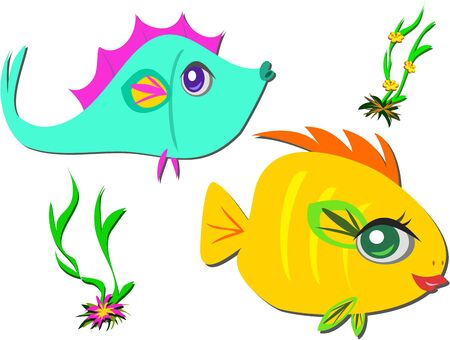 Two Fish Friends Swimming Vector