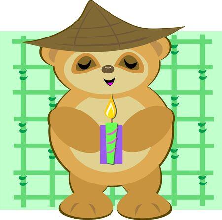 Peaceful Bear Monk Ilustração