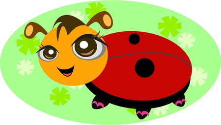 Ladybug with Flower Background Vector
