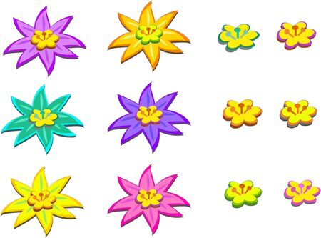 Mix of Flowers with Centers Stock Vector - 9680409