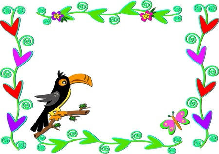 Frame of Plants, Hearts, and Toucan Bird Stock Vector - 9719701