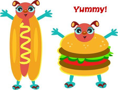 Hamburger and Hot Dog Characters Stock Vector - 9722024
