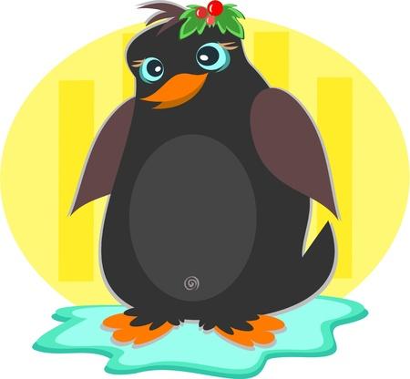 Christmas Penguin on an Iceberg