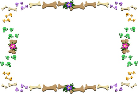 Frame of Bones, Paws, and Flowers Illustration