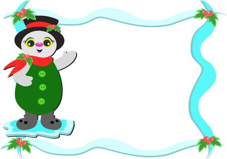Frame with Snowman and Holly Vector