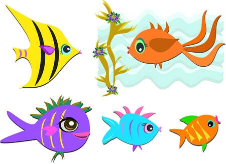 Mix of a Variety of Fish Vector