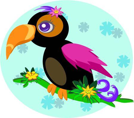 花と枝を持つかわいいオオハシ  イラスト・ベクター素材
