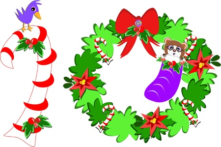 Christmas Raccoon Wreath and Candy Cane Bird Vector