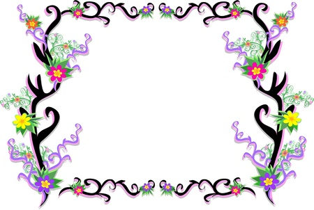 Tattoo Frame with Delicate Plants