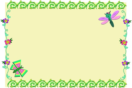 Frame with Spiral Plants, Flowers, and Bugs Vector