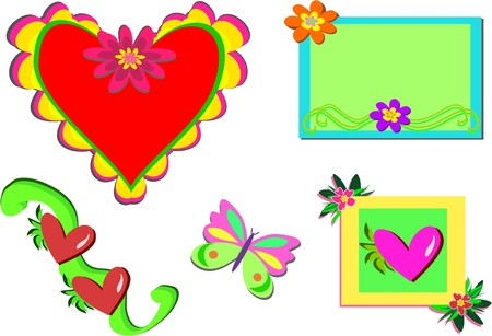 mixture: Mix of Hearts, Butterfly, and Frames
