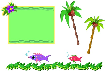 Mix of Tropical Pictures Vector