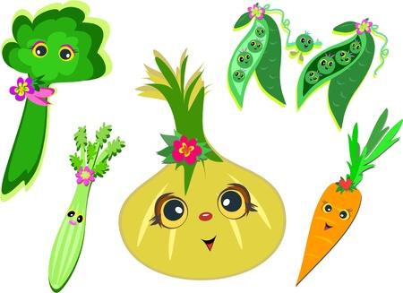 Mix of Happy Vegetables Vector