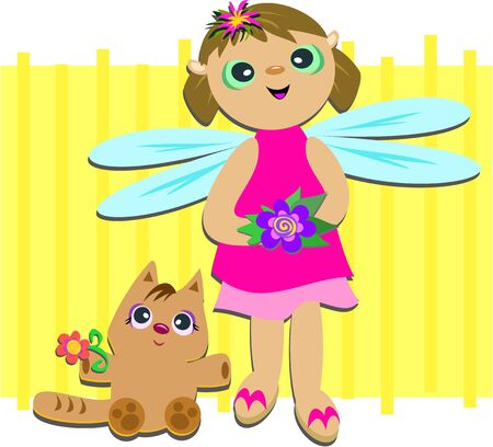Fairy and Cat are Friends Vector