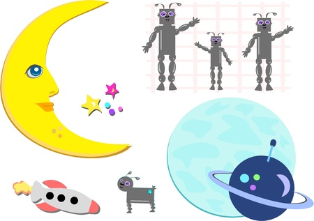 Mix of Outer Space Pictures Vector