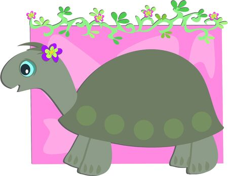 Grey Turtle with Floral Vine Vector