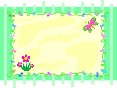 Striped Frame with Butterfly and Plants Vector