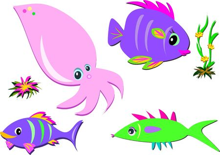 Mix of Fish, Squid, and Plants Ilustrace