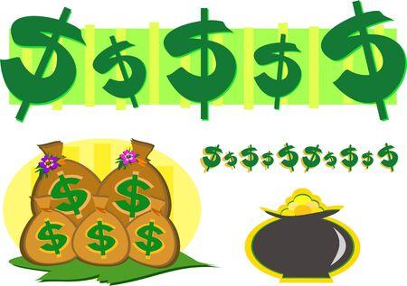 お金と金の富のシンボルのミックス