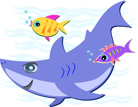 shark mouth: Blue Shark with Two Fish Friends Illustration