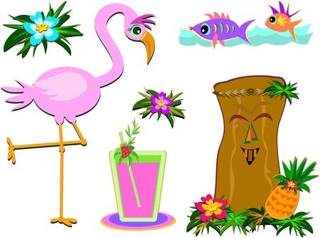 Mix of Humorous Tropical Pictures Stock Illustratie
