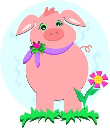 Pink Pig in a Flower Garden Stock Vector - 10406702
