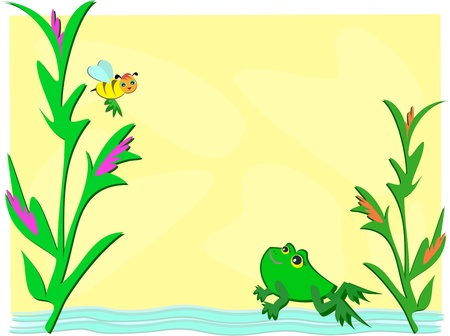 Frog and Bee Pond Vector