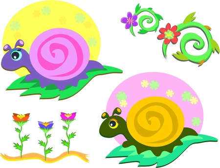 Mix of Snails and Flowers Vector