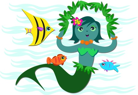 Blue Mermaid Swimming with Fish Vector