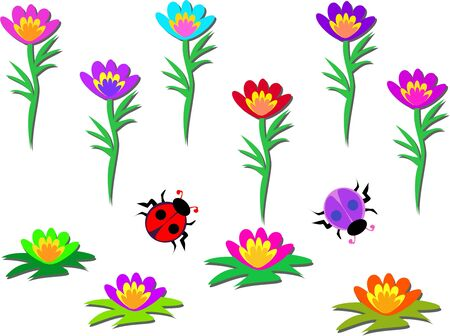 Mix of Flowers and Beetles Illustration