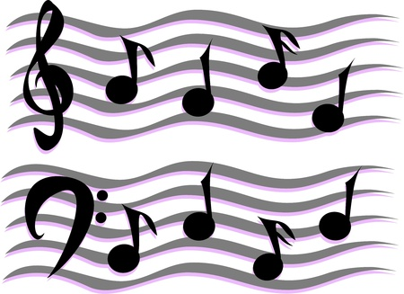 musical staff: Musical Notes on a Staff Illustration