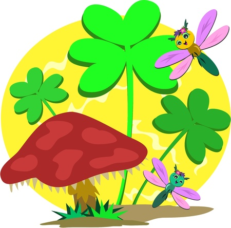 antenna dragonfly: Saint Patricks Clover and Mushroom Illustration