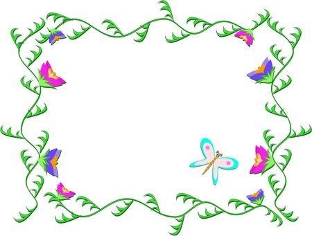 Frame of Green Vines and Flowers Иллюстрация