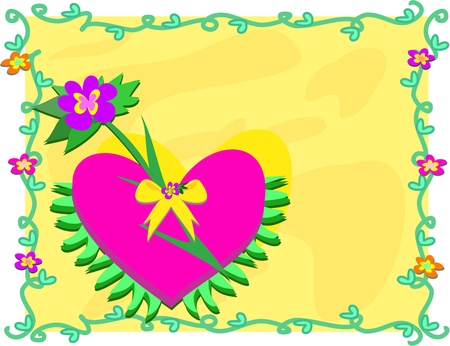 Colorful Frame of Plants and a Big Heart with Bow