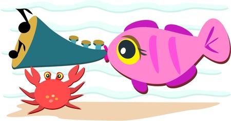 cangrejo caricatura: Fish tocando una bocina