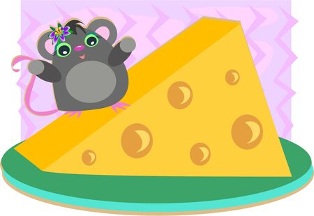 Mouse and Cheese Plate Vector