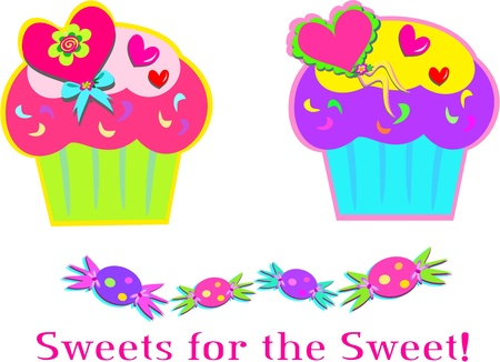cupcake illustration: Sweet Cupcakes and Candy Illustration