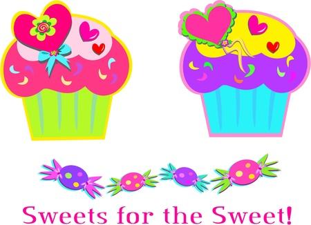 Sweet Cupcakes and Candy Ilustração
