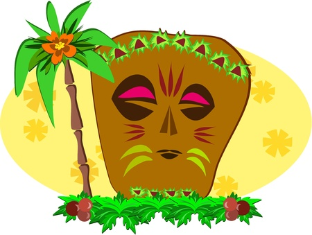 Decorative Tiki and Palm Tree Vector