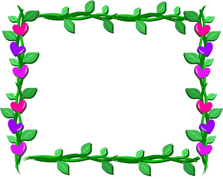 Frame of Hearts and Vines Illustration