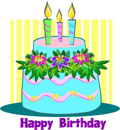 Happy Birthday Candle Cake Vector