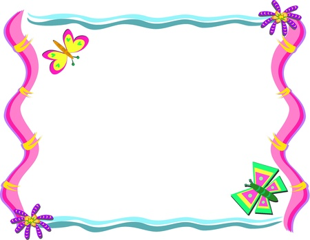 Frame with Butterflies and Whimsical Flowers Ilustração