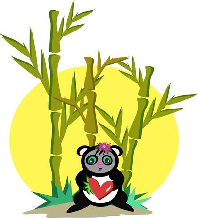 작은 숲: 대나무 숲에서 팬더 일러스트