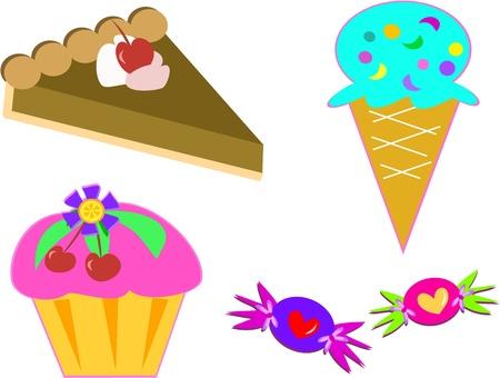 Mix of Sweet Desserts Ilustração