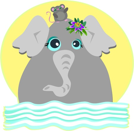 Elephant and Mouse are Friends Vector