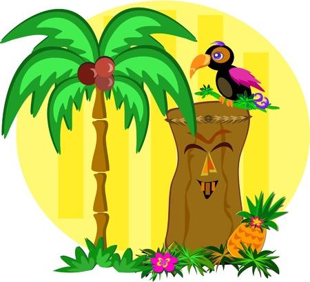 Kleurrijke Toekan Vogel op een Happy Tiki Stock Illustratie