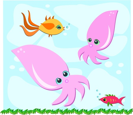 Fish and Squids are Friends Stock Vector - 10784876