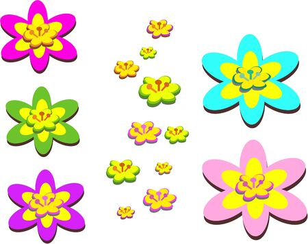 Mix of Colorful Flowers and Centers Stock Vector - 10784877