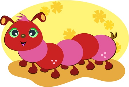 Cute Red Caterpillar Stock Vector - 10784870